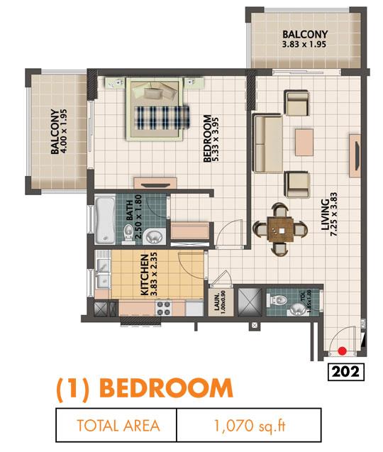1 Bedroom, Size 1070 sq.ft