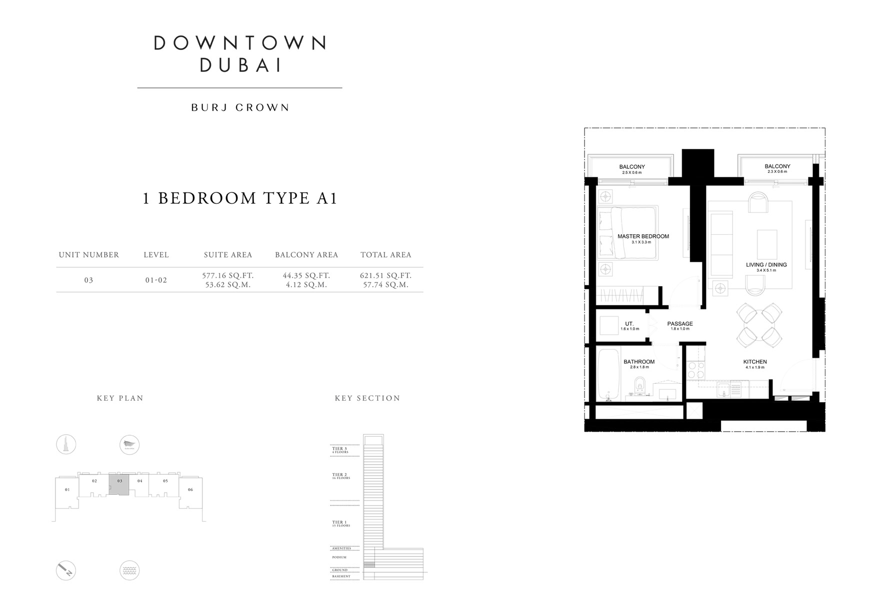1 Bedroom Type A1, Size 621 sq ft