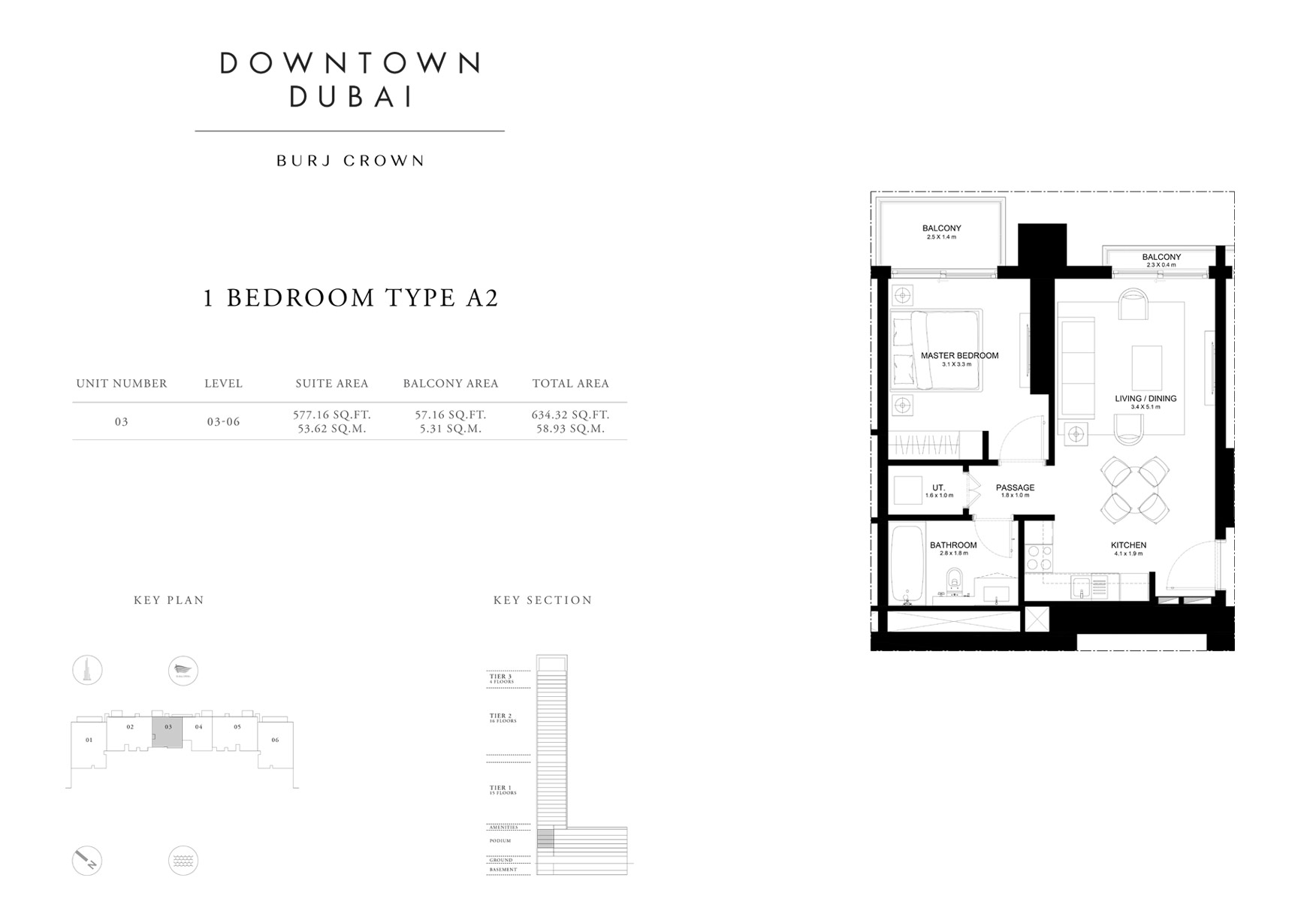1 Bedroom Type A2, Size 634 sq ft
