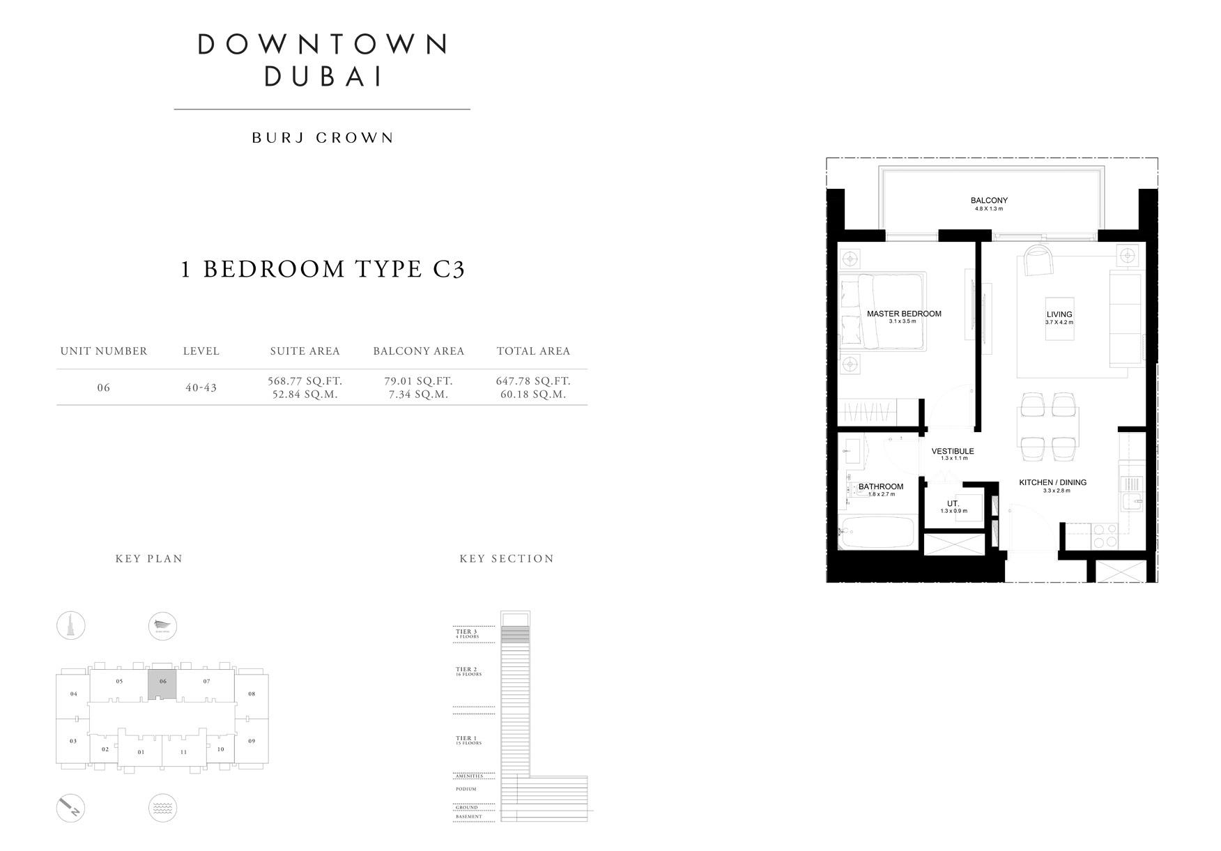 1 Bedroom  Type C3, Size 647 sq ft