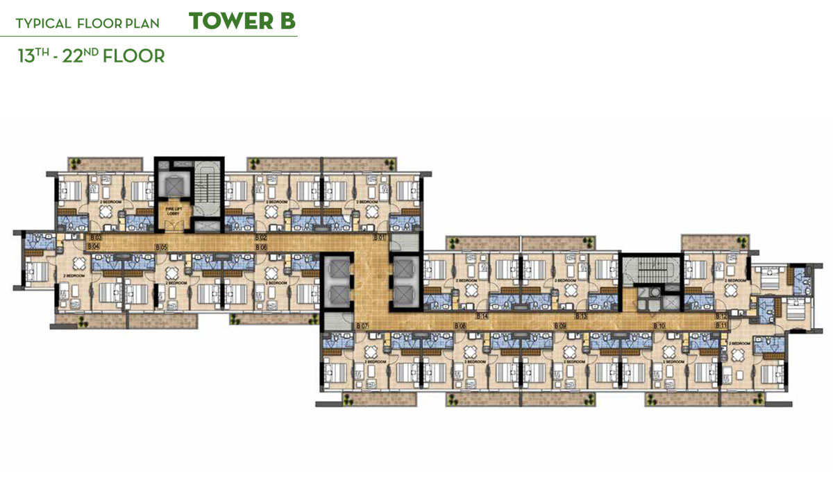 Typical Floor Plan Tower B, 13th - 22nd Floor
