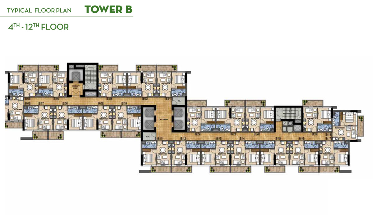 Typical Floor Plan Tower B, 4th - 12th Floor