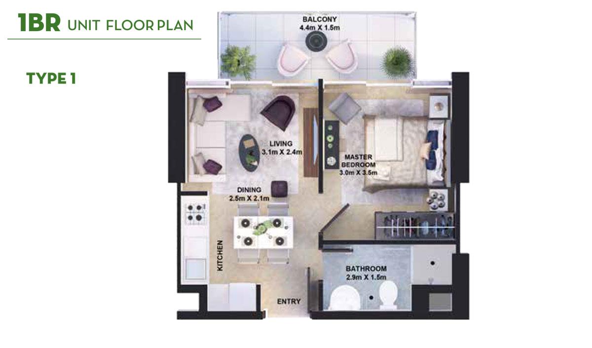 1 Bedroom Type 1