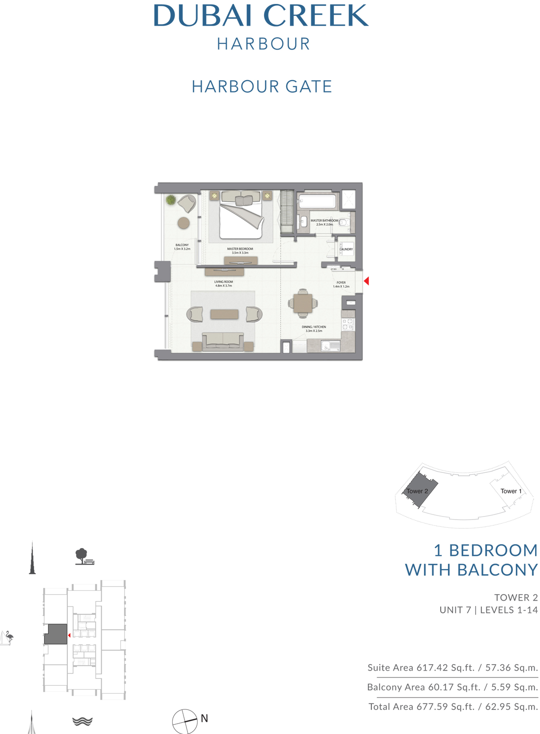 1 Bed with Balcony T2-U7-L1-14