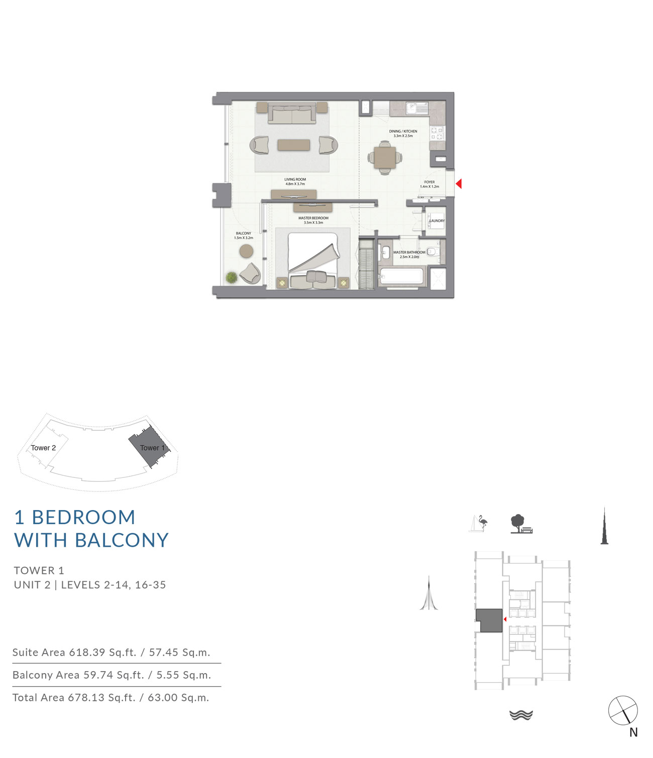 1 Bed with Balcony