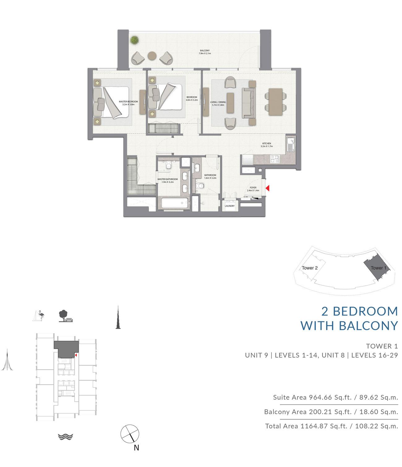 2 Bedroom With Balcony