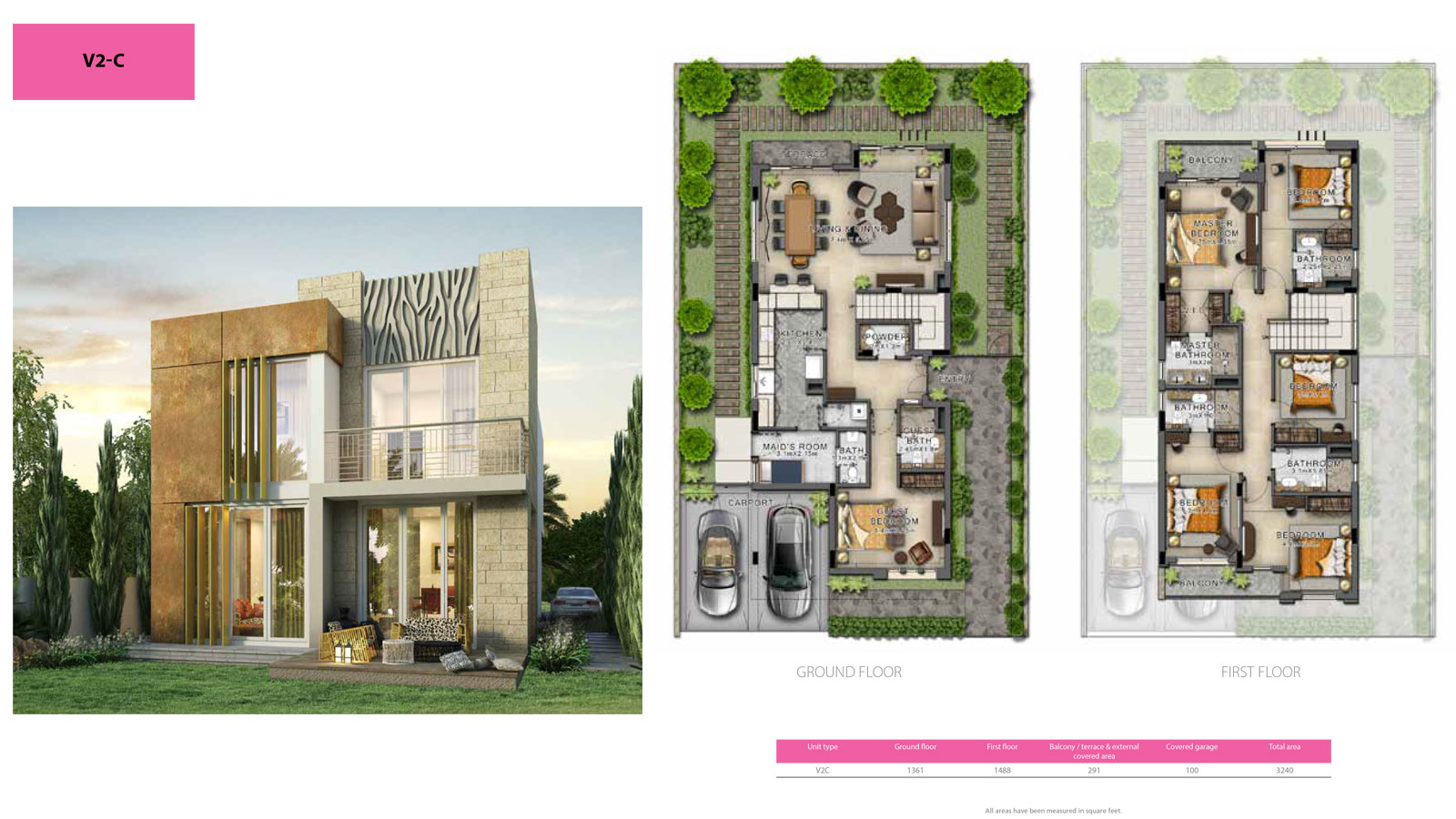 3 Bedroom Villa, Size 3240 sq ft