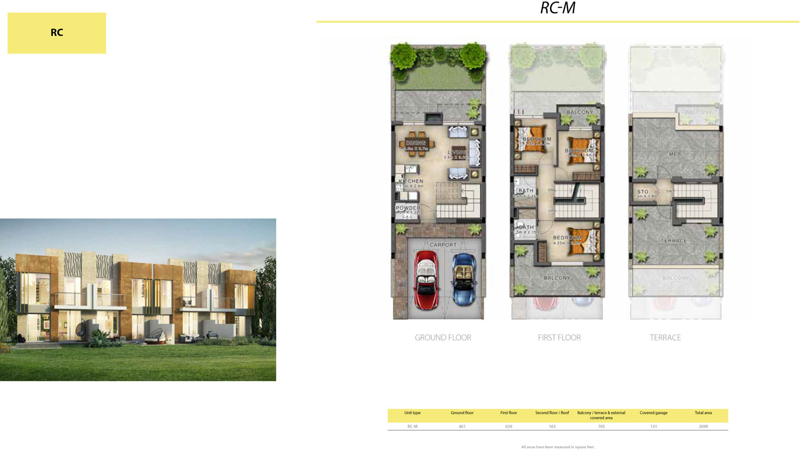 3 Bedroom Villa, Size 2099 sq ft