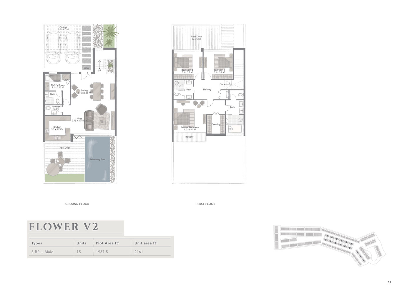 3 Bedroom +Maid, Flower V2,  Size 2161 sq ft