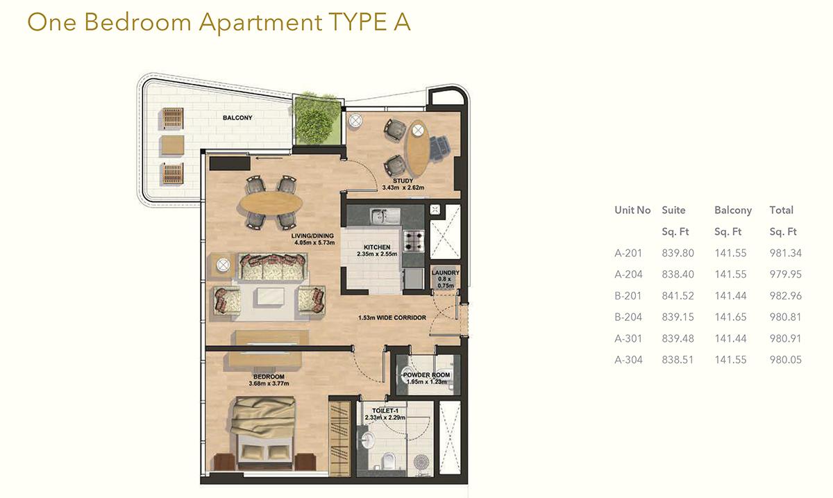 1 Bedroom -Type-A
