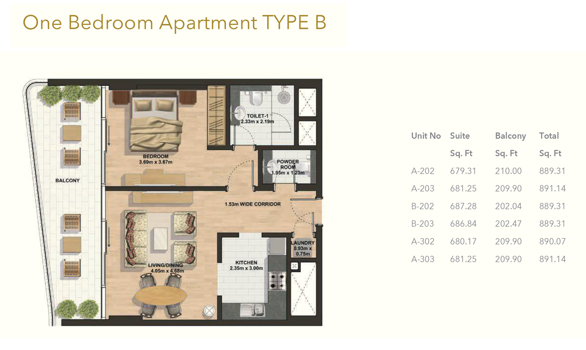 1 Bedroom -Type-B
