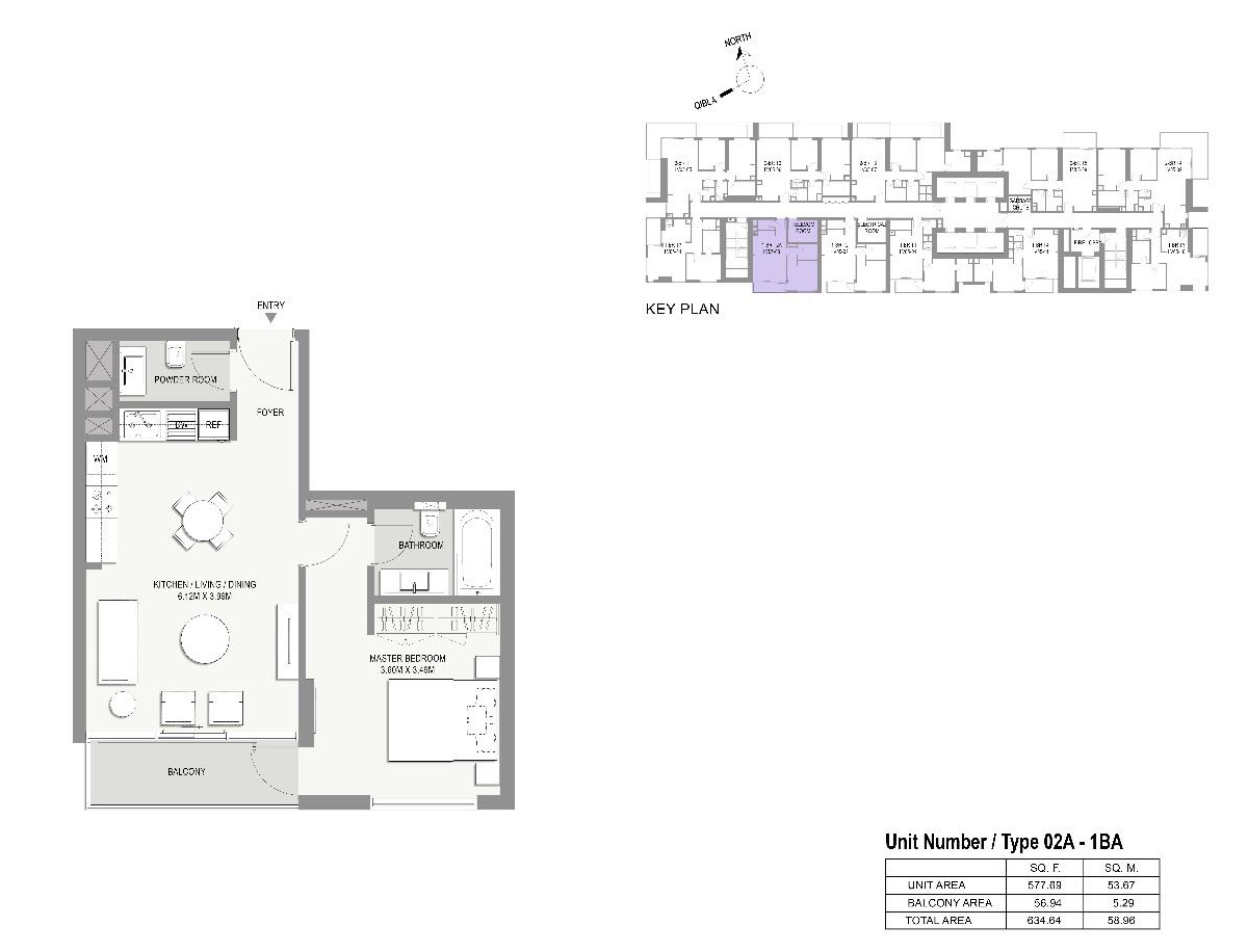 Type-02A-1 Bed Apartments