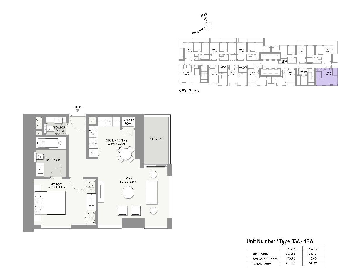 Type-03A-1 Bed Apartments