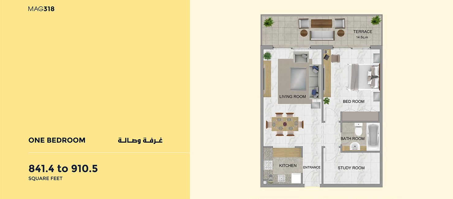 1-Bedroom-910.50-Sq Ft