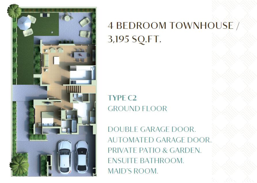4 Bedroom Townhouse - 3195 Sq. Ft. - Ground Floor