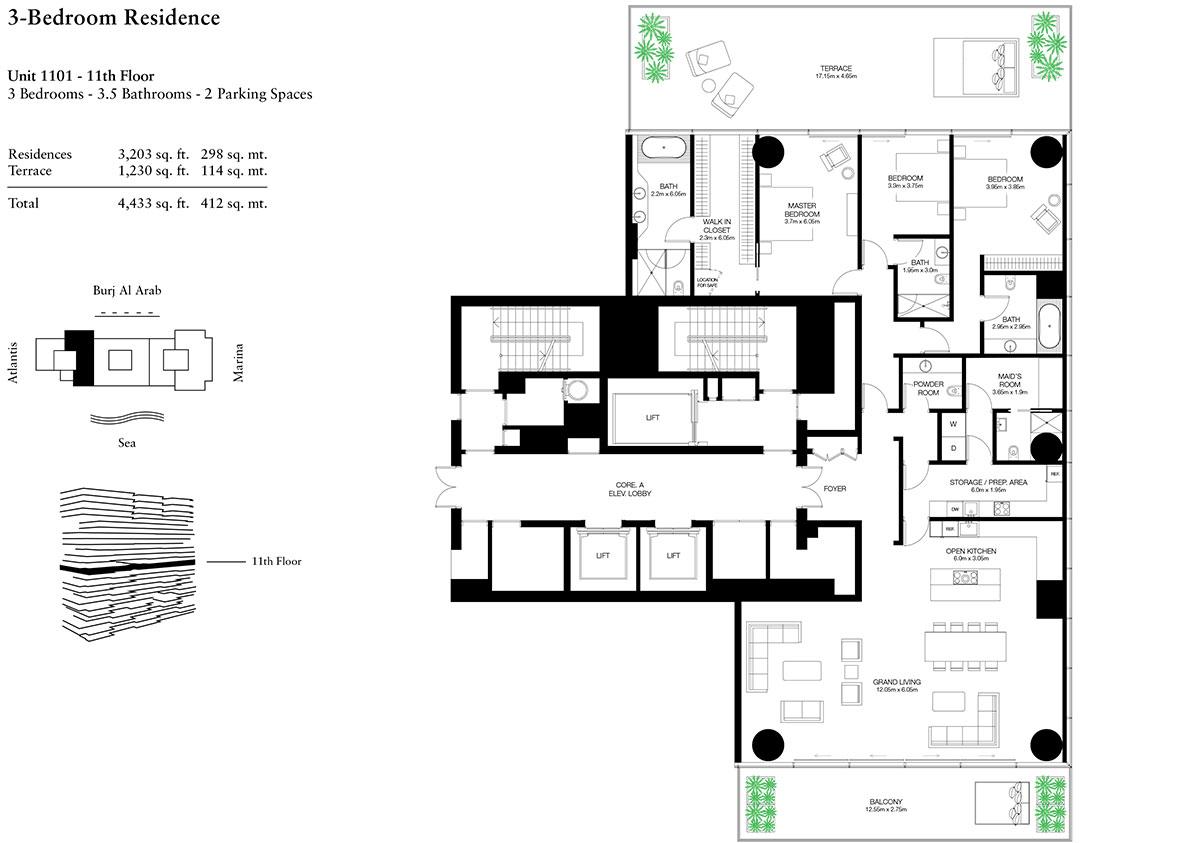 3 Bedroom-U-1101-L-11-S
