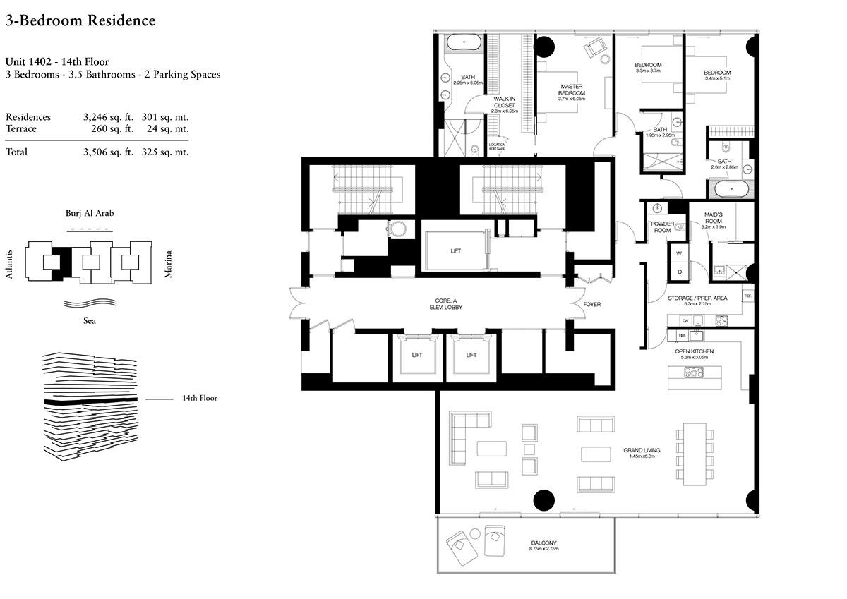 3 Bedroom-U-1402-L-14-S