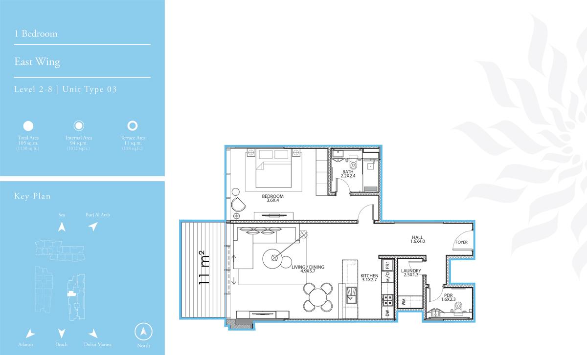 East Wing 1 Bedroom L-2-8, T-3
