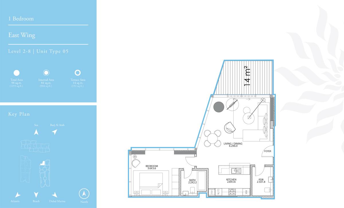 East Wing 1 Bredroom  L-2-8 T-5