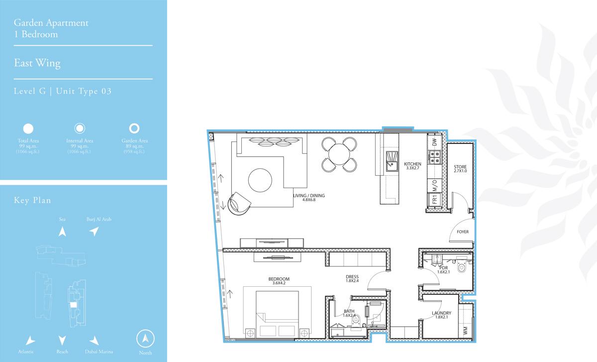East Wing 1 Bedroom L-G T-3