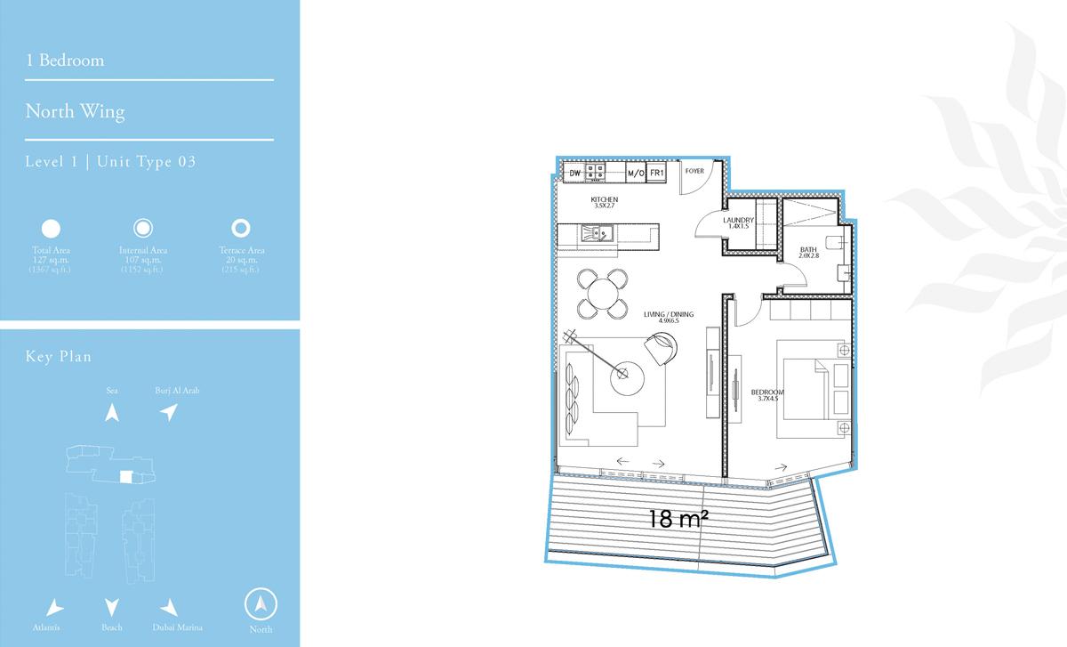 North Wing 1 Bedroom L-1 T-3