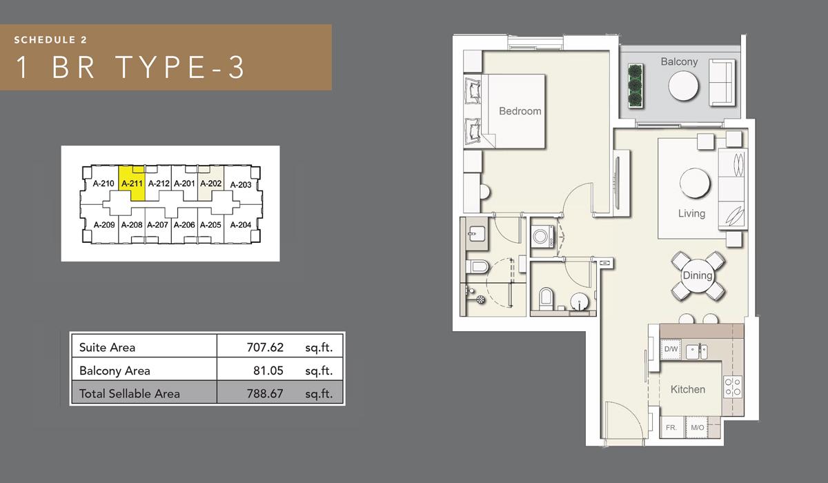 1 bedroom type 3
