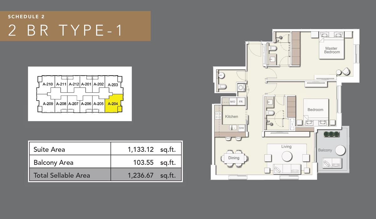 2 bedroom type 1