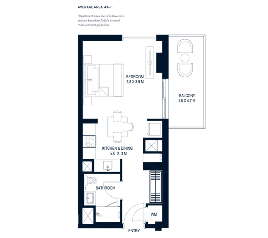 1 Bedroom Average Area 43m²