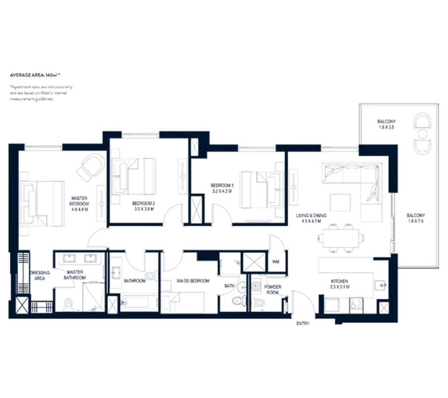 3 Bedroom Average Area 140m² *