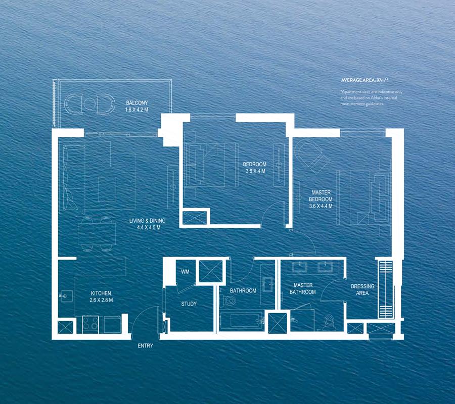 2 Bedroom Average Area 97m² *