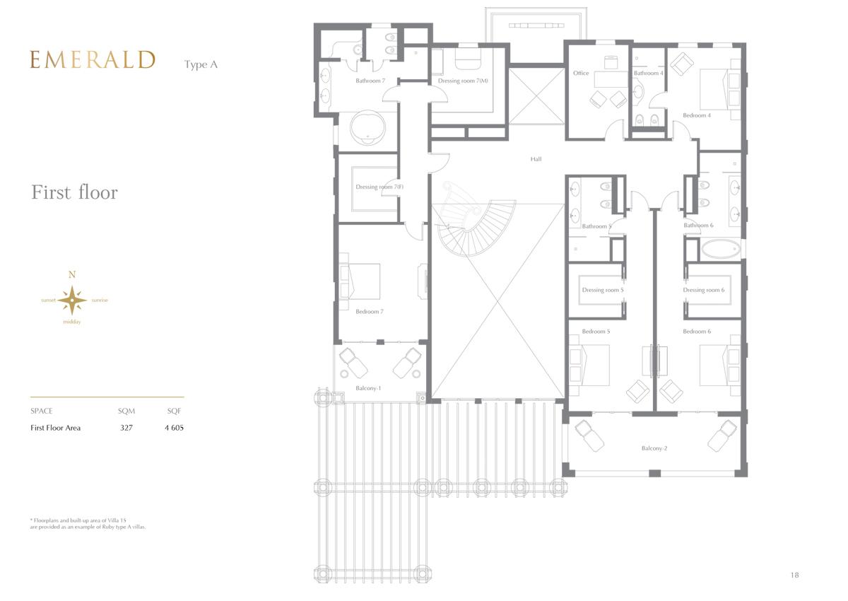 Emerald Type A, 7 Bedroom 1st Floor, Size 4605 Sq.Ft