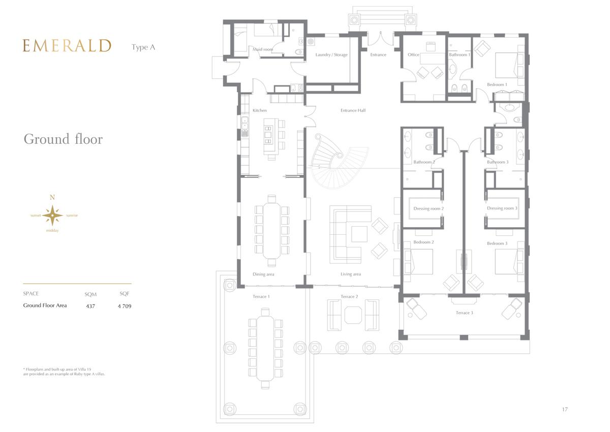 Emerald Type A, 7 Bedroom Ground Floor, Size 4709 Sq.Ft