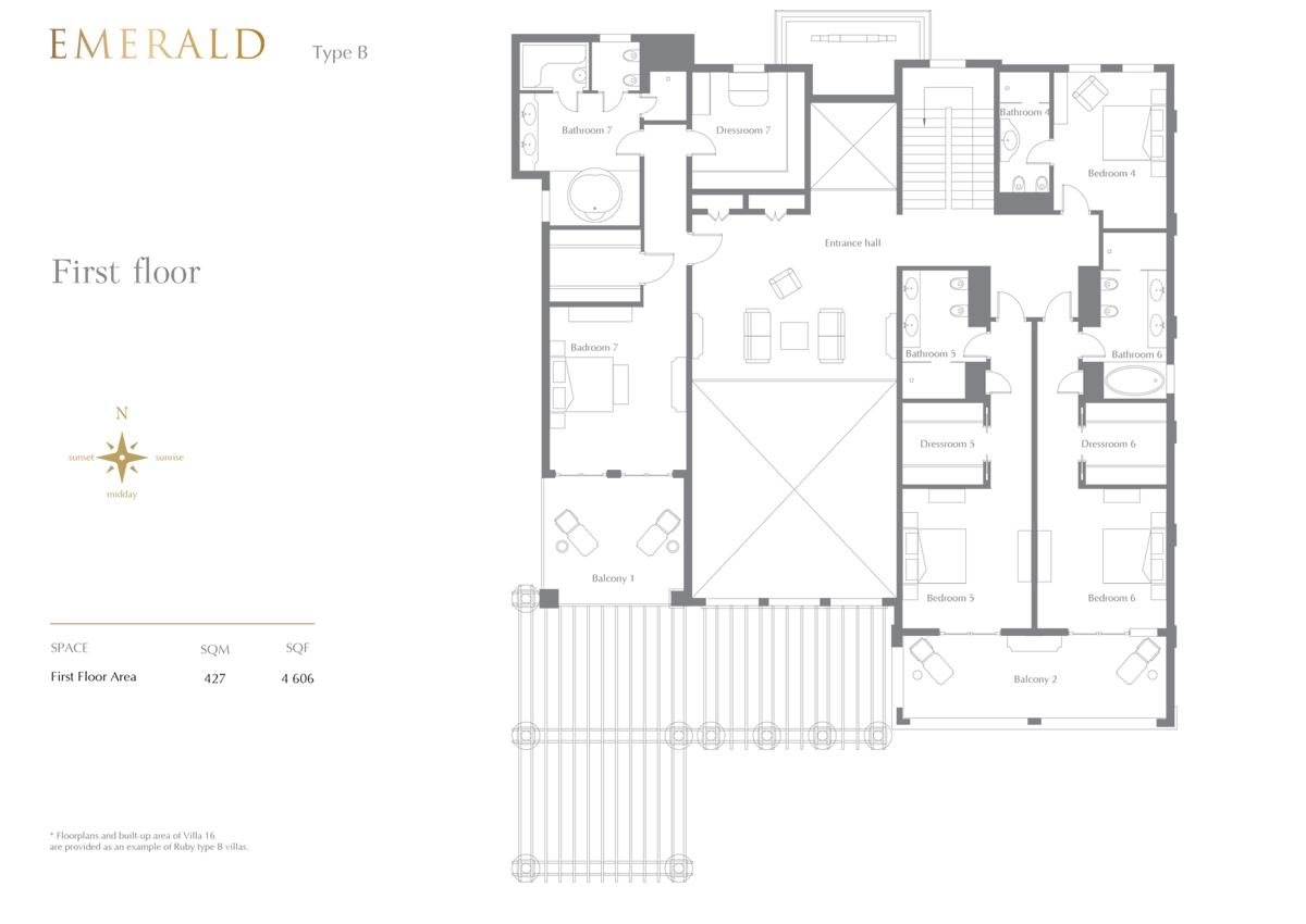 Emerald Type B, 7 Bedroom 1st Floor, Size 4606 Sq.Ft