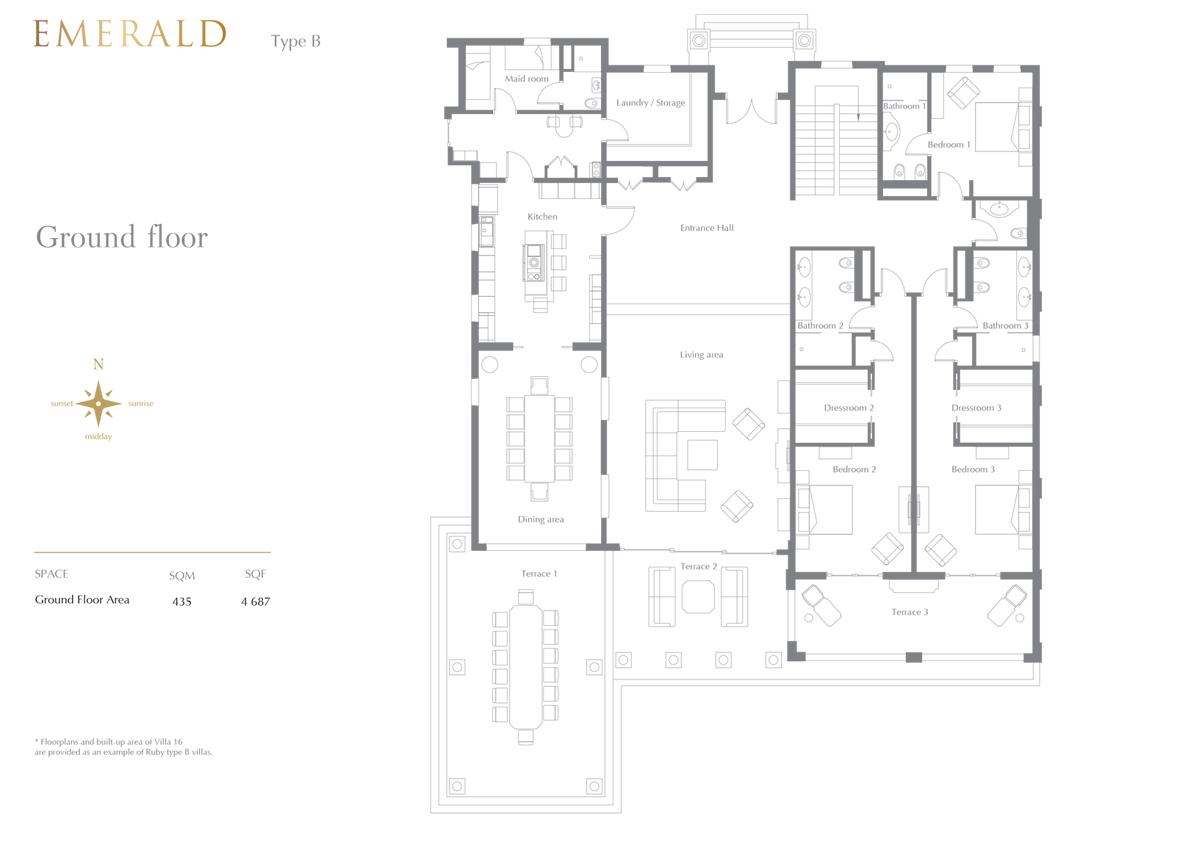 Emerald Type B, 7 Bedroom Ground Floor, Size 4687 Sq.Ft