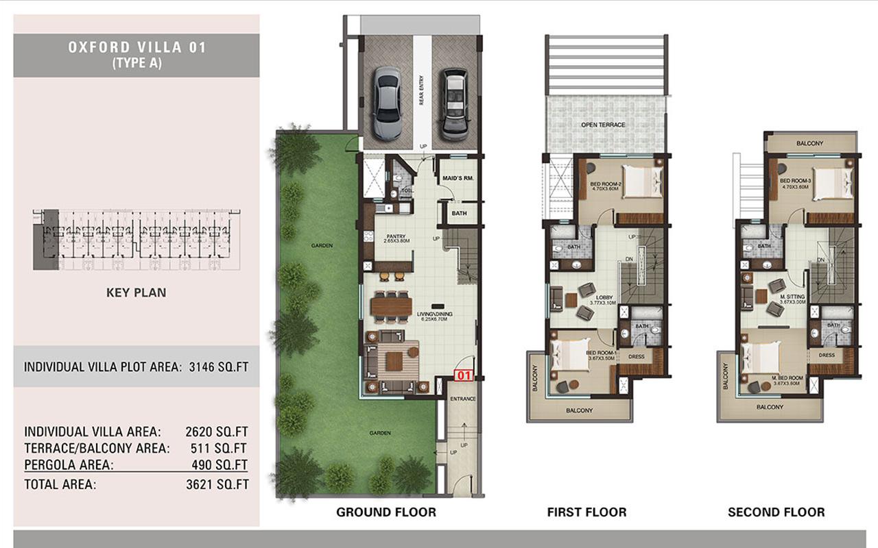 Villa Type A, Size 3621 sq.ft.