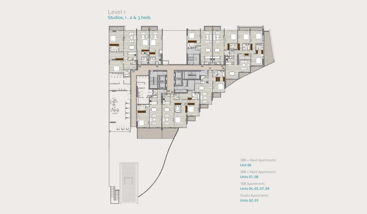 Level1-studio-1-2-3-bedroom