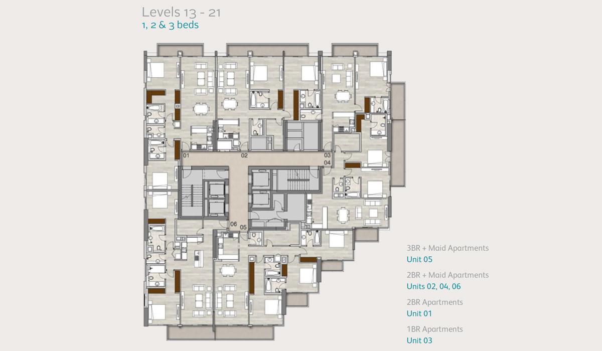 Level13to21-1-2-3-bedroom