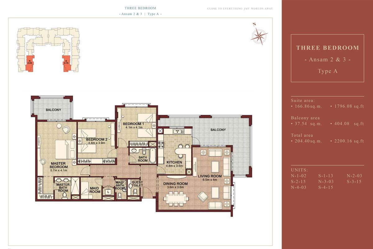 3 BEDROOM TYPE A, Size 2200.16 Sqft