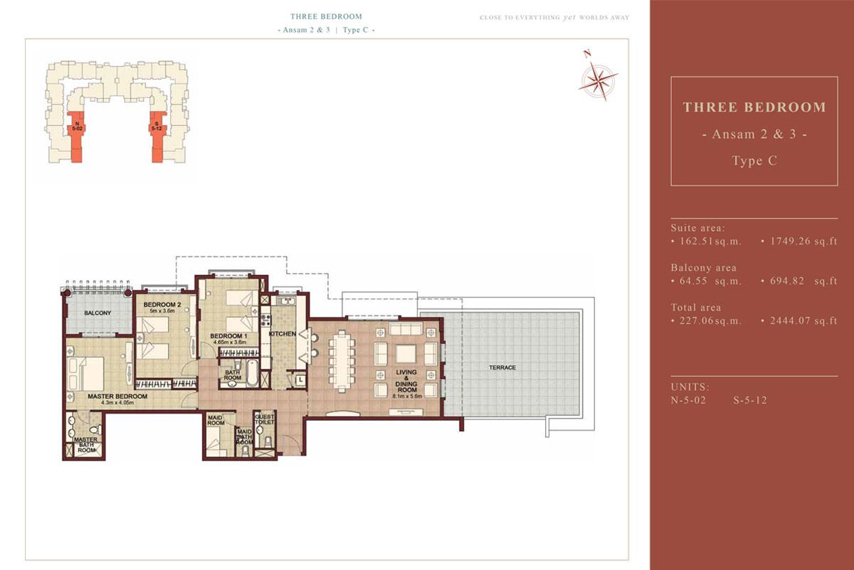 3 BEDROOM TYPE B, Size 2444.07 Sqft