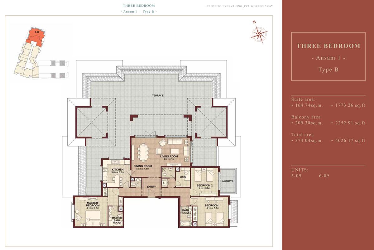 3 BEDROOM TYPE B, Size 4026.17 Sqft