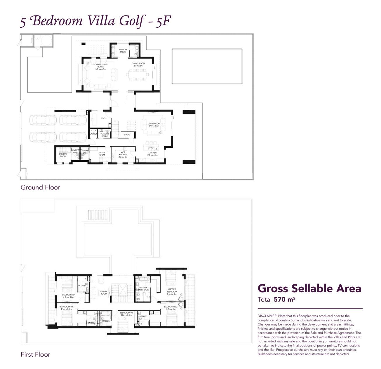 5 Beds Townhouse - Built up area 6,133 SqFt