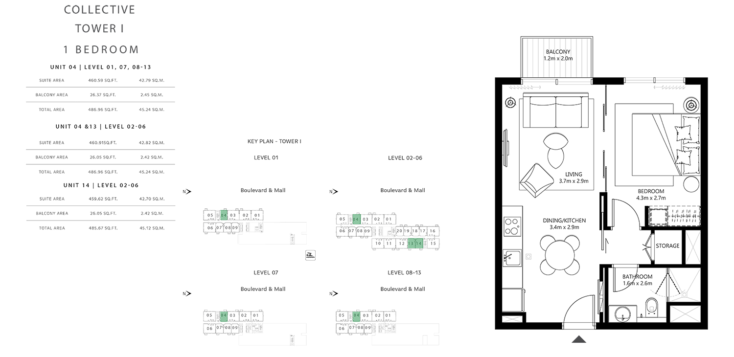 Tower 1 - 1 Bedroom , Size 485.67 To 486.96 sq.ft
