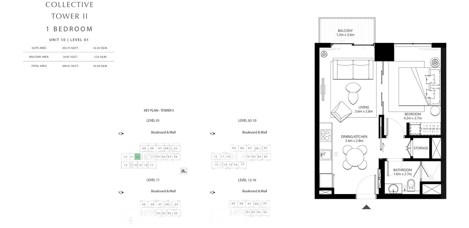 Tower 2 - 1 Bedroom Unit 1 0 Level 1, Size 490.61 sq.ft