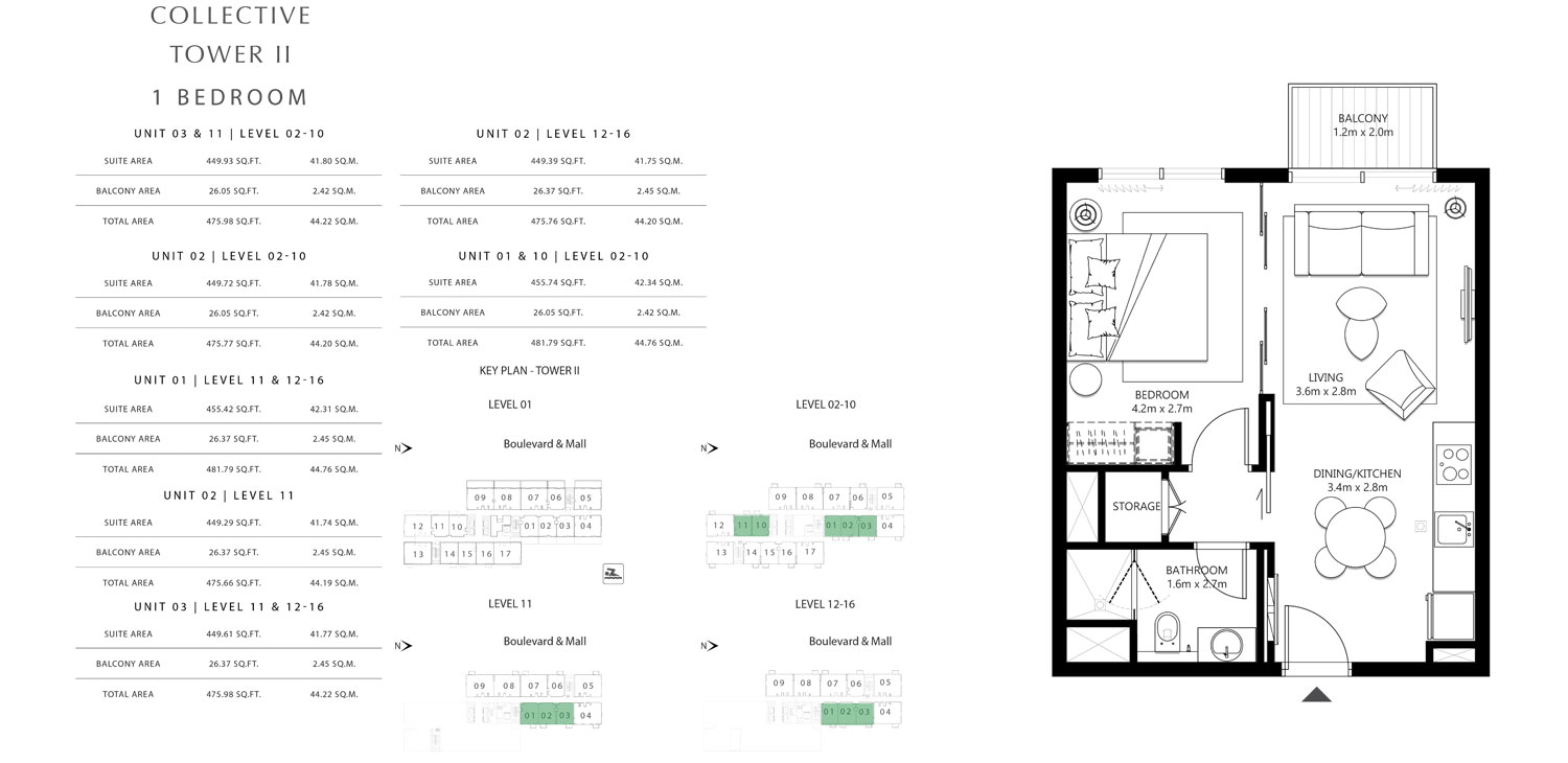 Tower 2 - 1 Bedroom Unit 03 & 11 Level 02-10 Size 475.66 To 481.79 sq.ft