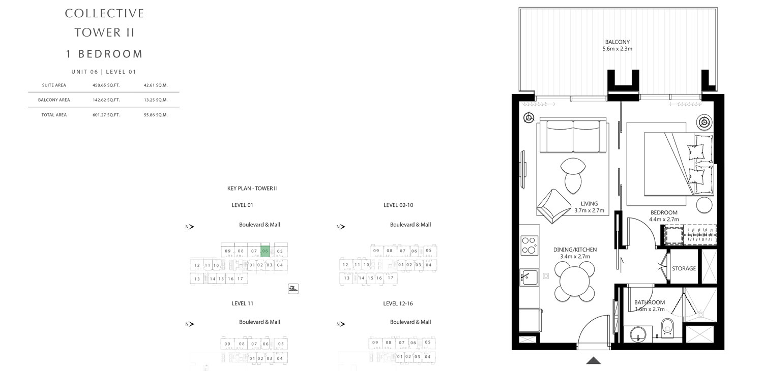 Tower 2 - 1 Bedroom Unit 6 LEVEL 1, Size 601.27 sq.ft