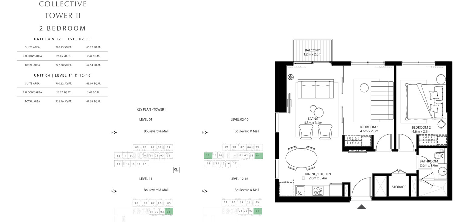 Tower 2 - 2 Bedroom Unit 04 & 12 Level 02-10 Size 726.99 To 727.00 sq.ft