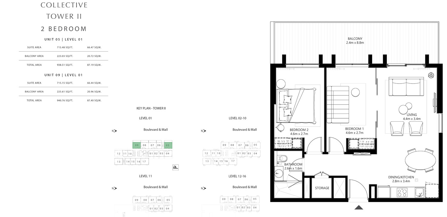 Tower 2 - 2 Bedroom Unit 05 Level 01 Size 938.51 To 940.76 sq.ft