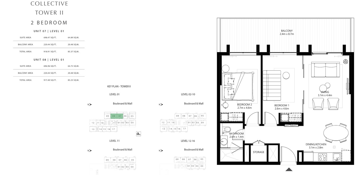 Tower 2 - 2 Bedroom Unit 7 Level 01 Size 917.40 To 918.91 sq.ft