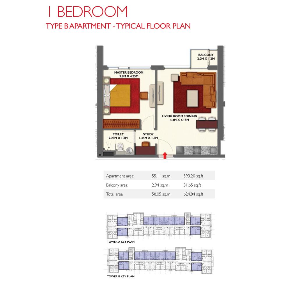 1 Bedroom -TypeB, Size 624.84-sqft