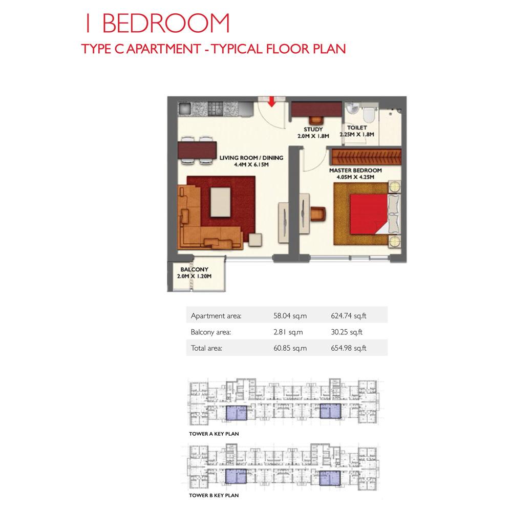 1 Bedroom -Type C, Size 654.98-sqft